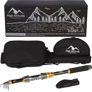 High Altitude Brands Backcountry Telescopic Fishing Rod Highly Portable with Case