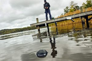 Casting the Deeper PRO+ Smart Sonar - GPS Portable Wireless Wi-Fi Fish Finder for Shore and Ice Fishing