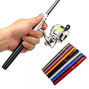 Lixada Pen Fishing Rod Reel Combo Set Premium Mini Pocket Collapsible Fishing Pole Kit Telescopic Fishing Rod + Spinning Reel Combo Kit Life Style