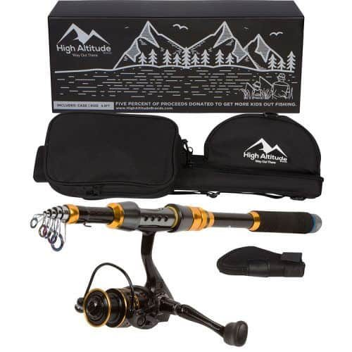 High Altitude Brands Backcountry Telescopic Fishing Rod Pole Case and Reel